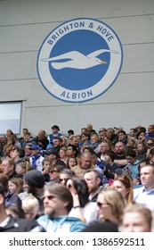 FALMER, BRIGHTON, EAST SUSSEX / UNITED KINGDOM - APRIL 28 2019: General crowd view during the match between Arsenal and Brighton and Hove Albion in the FAWSL at American Express Community Stadium.