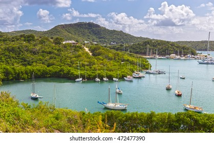 Falmouth harbour. View from Shirely Heights, Antigua, West Indies, Caribbean