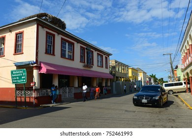 FALMOUTH, JAMAICA - DEC 29, 2014: Falmouth Market Street is located at historic downtown in Falmouth, Jamaica.