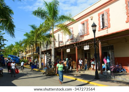 FALMOUTH, JAMAICA - DEC 29, 2014: Falmouth Harbour Lane is located at historic downtown in Falmouth, Jamaica.