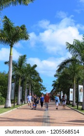 Falmouth, Jamaica – Dec. 4, 2017 – Tourists walk palm tree lined historical area to learn about history of Jamaica during 18th and 19th centuries with signs marking historical sites.