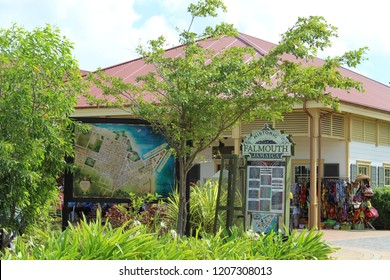 Falmouth, Jamaica: Dec. 4, 2017 –Large outdoor street map of Falmouth Jamaica with its historical markers and points of interest for tourists.