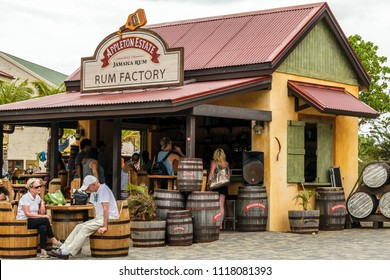 Falmouth, Jamaica - June 03 2015: Tourists at the Appleton Estate Rum Factory store inside the Falmouth Cruise Port, Jamaica.