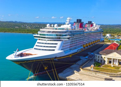 Falmouth, Jamaica - May 02, 2018: Cruise ship Disney Fantasy by Disney Cruise Line docked in Falmouth, Jamaica on May 02, 2018
