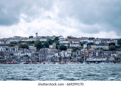falmouth skyline from the harbour cornwall england uk.