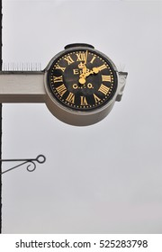 FALMOUTH, UK - OCTOBER 29, 2016. A projecting clock on the post office, at Falmouth, a coastal town in Cornwall, south west England, UK.