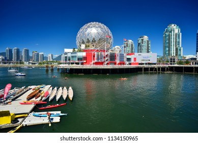 FALSE CREEK - JULY 13, 2018: Science World at Telus World of Science, is a science centre run by a not-for-profit organization in Vancouver, British Columbia, Canada. Is located by False Creek.