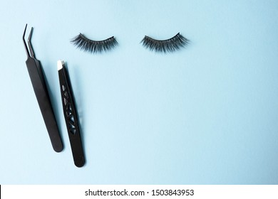 False eye lashes, black tweezers on blue background with copy space, mockup. Beauty concept - Tools for eyelash extension.