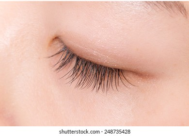 False eyelashes of the Asian woman girl