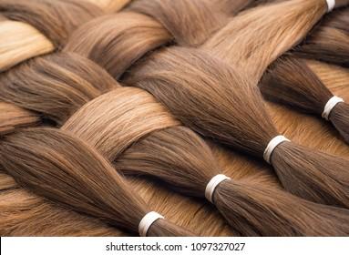 False hair. Hair for hair extension.