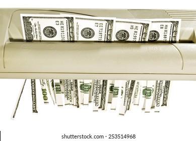 False Hundred Dollar Bills Being Shredded