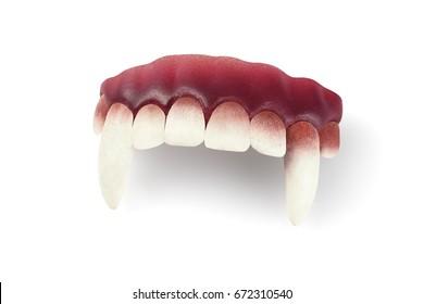 False Vampire Teeth on White Background