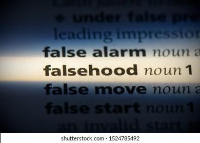 falsehood word in a dictionary. falsehood concept, definition.