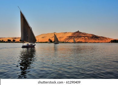 Faluca boat sailing in Nile River, Egypt (HDR Photo)