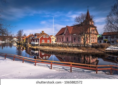Falun - March 30, 2018: The picturesque wooden houses in the center of the town of Falun in Dalarna, Sweden