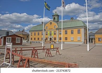 FALUN, SWEDEN - AUGUST 01, 2014: Main building of the Falun mine museum