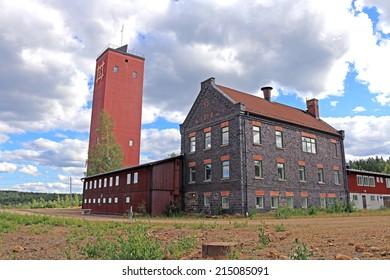 FALUN, SWEDEN - AUGUST 01, 2014: Abandoned industry building near  Falun mine
