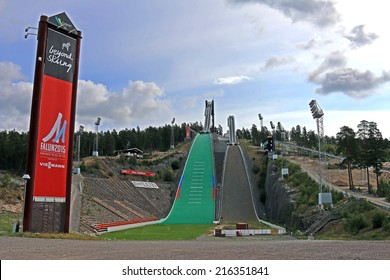 FALUN, SWEDEN - AUGUST 02, 2014: Skijump at Lugnet Arena ready for 2015