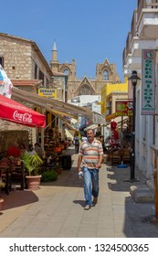 FAMAGUSTA, CYPRUS, JULY 25 - 2015 People on Namik Kemalstreet in the center of Famagusta, Cyprus