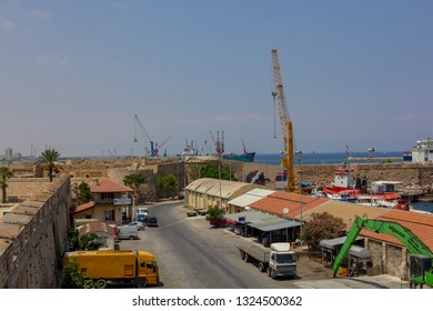 Famagusta / Northern Cyprus - JULY 25 - 2015: View on the Famagusta Port from The Old town wall of Famagusta , Palm Beach,Othello castle.