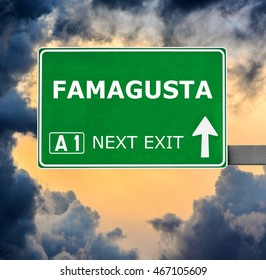 FAMAGUSTA road sign against clear blue sky