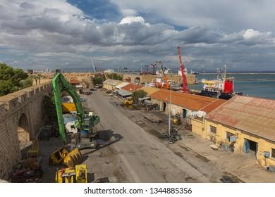 Famagusta,Cyprus-10.26.2018:Port street in Famagusta, Northern Cyprus