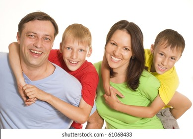 famaly in a color clothes on a white