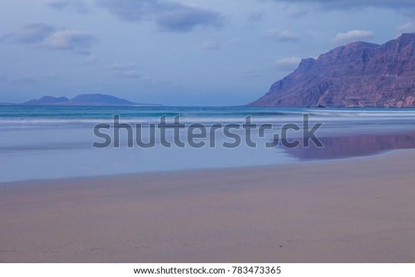 Famara, Lanzarote island. Atlantic ocean. Canary islands in Spain