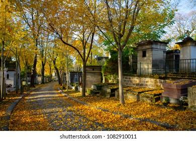 Famed Père Lachaise Cemetery in Paris, France during Autumn.