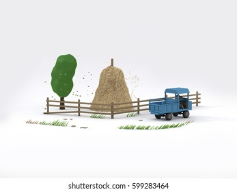 Famer Truck Country Life with straw and tree white background 3D Rendering