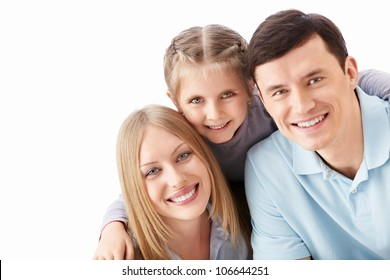 Families with a child on a white background