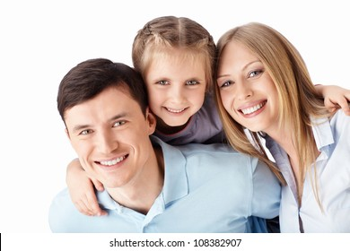 Families with child on a white background