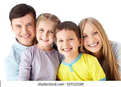 Families with children on a white background