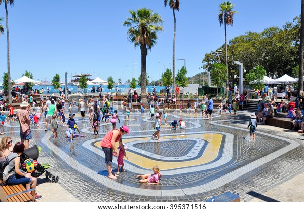 Families at in the Elizabeth Quay water park in Perth/Elizabeth Quay Water Park/PERTH,WA,AUSTRALIA-FEBRUARY 13,2016: Families playing in the water park at Elizabeth Quay in Perth, Western Australia.