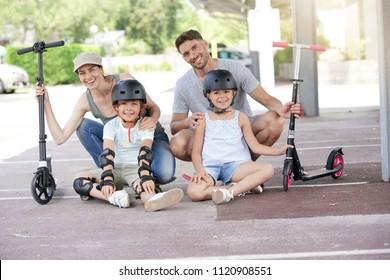 Family of 4 enjoying recreational riding day