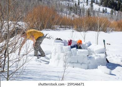 Family Activity: building snow huts - igloo