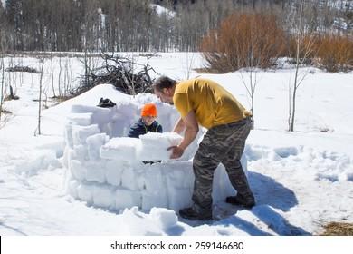 Family Activity: Construction of an Eskimo hut - the igloo from the bricks of dense snow