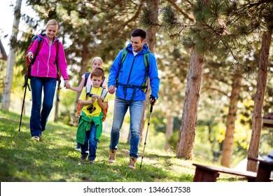 Family adventure day on mountain