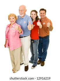 Family of American voters of all ages, full body isolated on white.  I Voted stickers are generic, not trademarked.