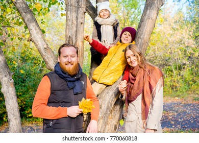 Family in an autumn park