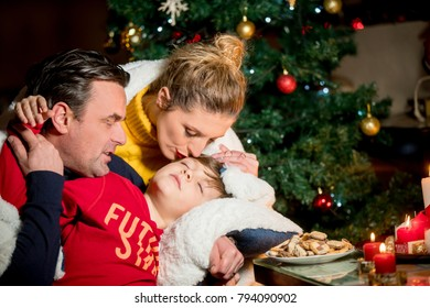 Family awaiting christmass, cozy seting