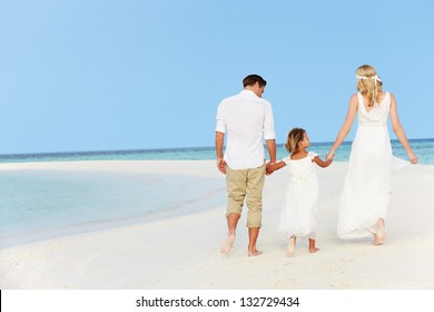Family At Beautiful Beach Wedding