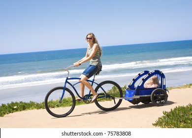 Family Bicycle Ride along the beach