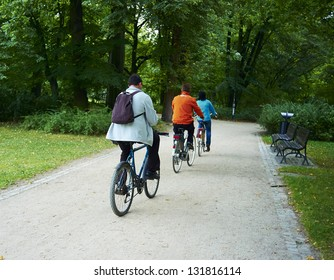 Family  bikers in the park