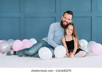 family bond. loving dad hugging his daughter. happy smiling father and child. healthy family relationship and responsible fatherhood.