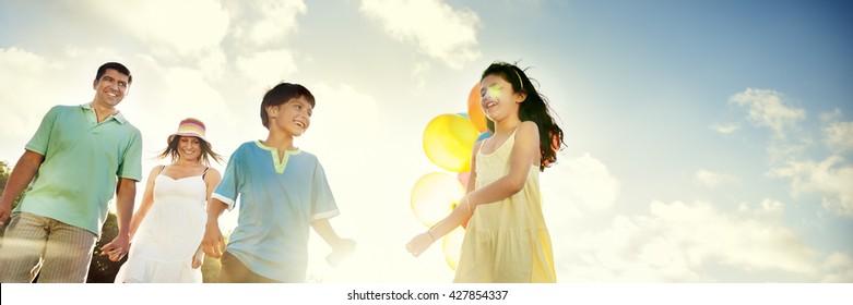 Family Bonding Cheerful Children Parenting Love Concept