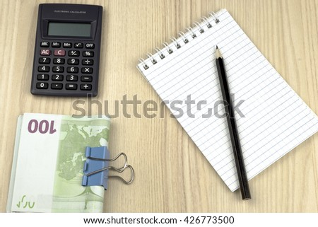 family budget calculator notepad pencil euros stock photo edit now