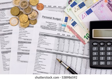 Family Budget - document costs, Euro Money, pen and calculator.