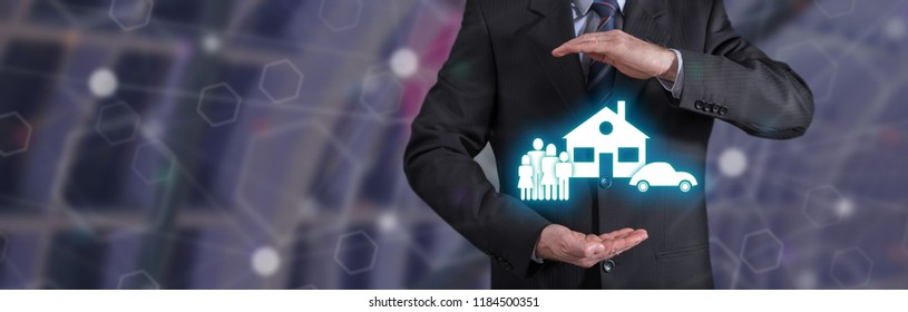 Family, car, home insurance concept with businessman in a protective gesture