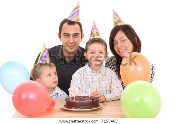 Sensational Family Celebrate Birthday Birthday Cake Lots Stock Photo Edit Now Funny Birthday Cards Online Bapapcheapnameinfo